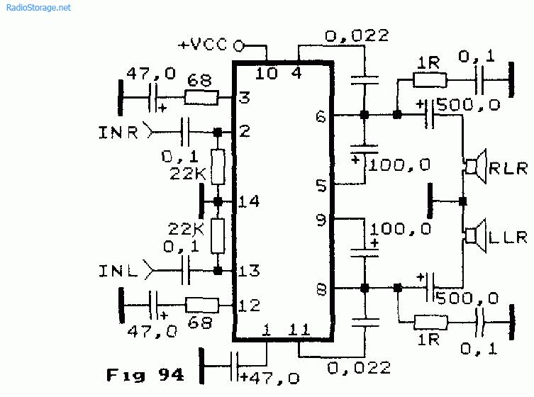 Схема двухканального УНЧ на
