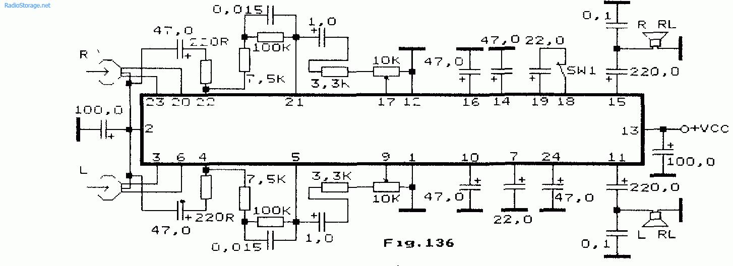 Схема: Усилитель воспроизведения и УНЧ на LA4560M. принципиальная схема.