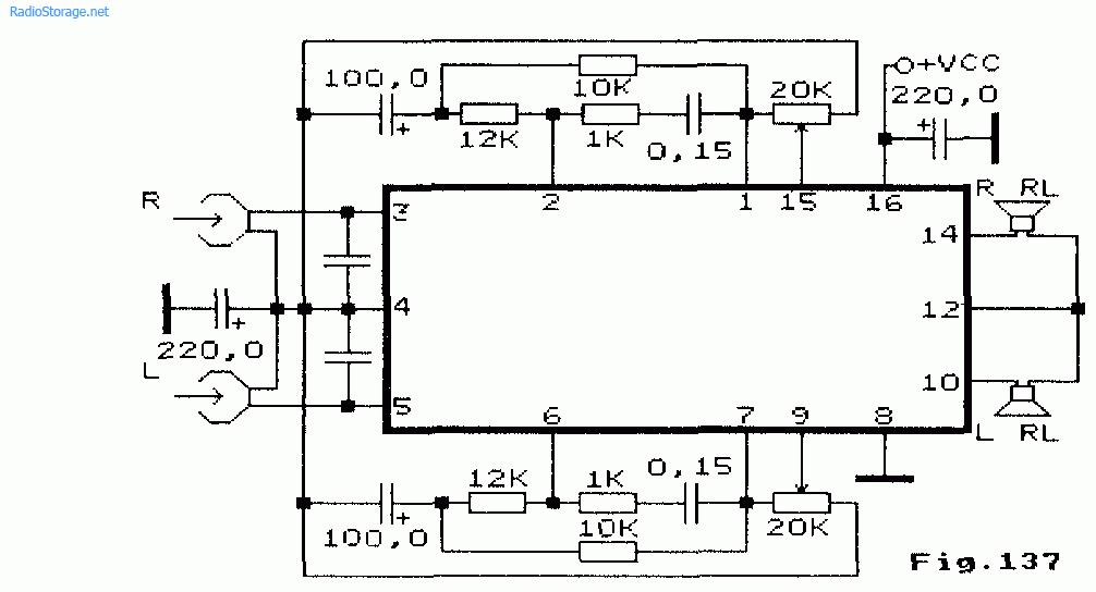 Схема: Усилитель воспроизведения и низкой частоты на LA4575. принципиальная схема.