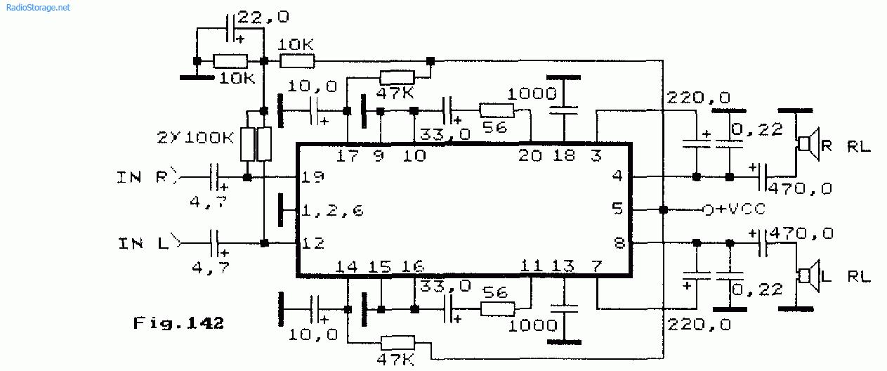 Схема стерео УНЧ для плеера