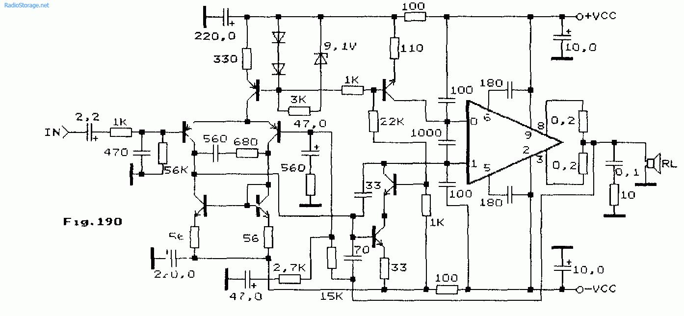 Схема: Схема мощного усилителя НЧ на микросхеме STK0100 50 70В 110Вт. принципиальная схема.
