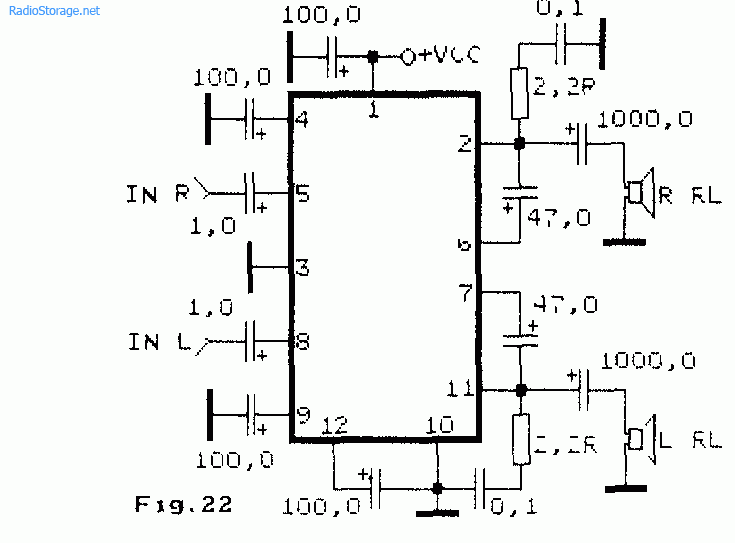 Схема двухканального усилителя