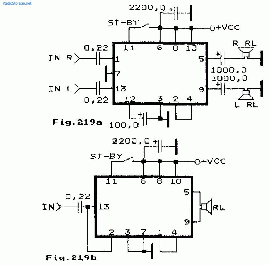 Схема УНЧ на микросхемах фирмы