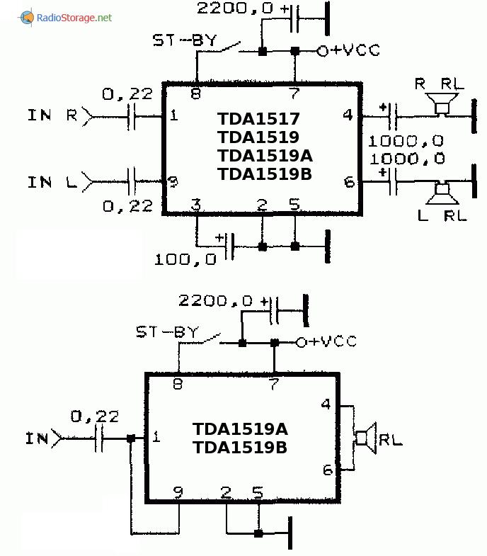 Схемы УНЧ на TDA1517,