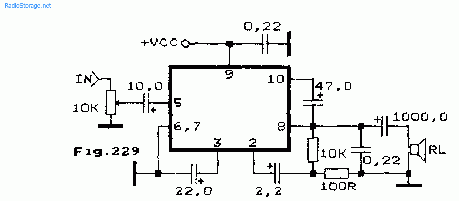 Схема УМЗЧ на микросхеме