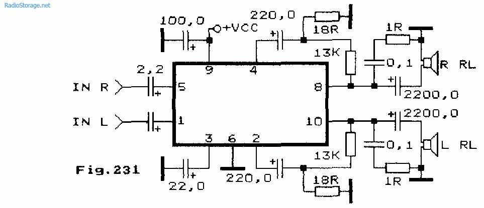 Схема стереоусилителя ЗЧ на