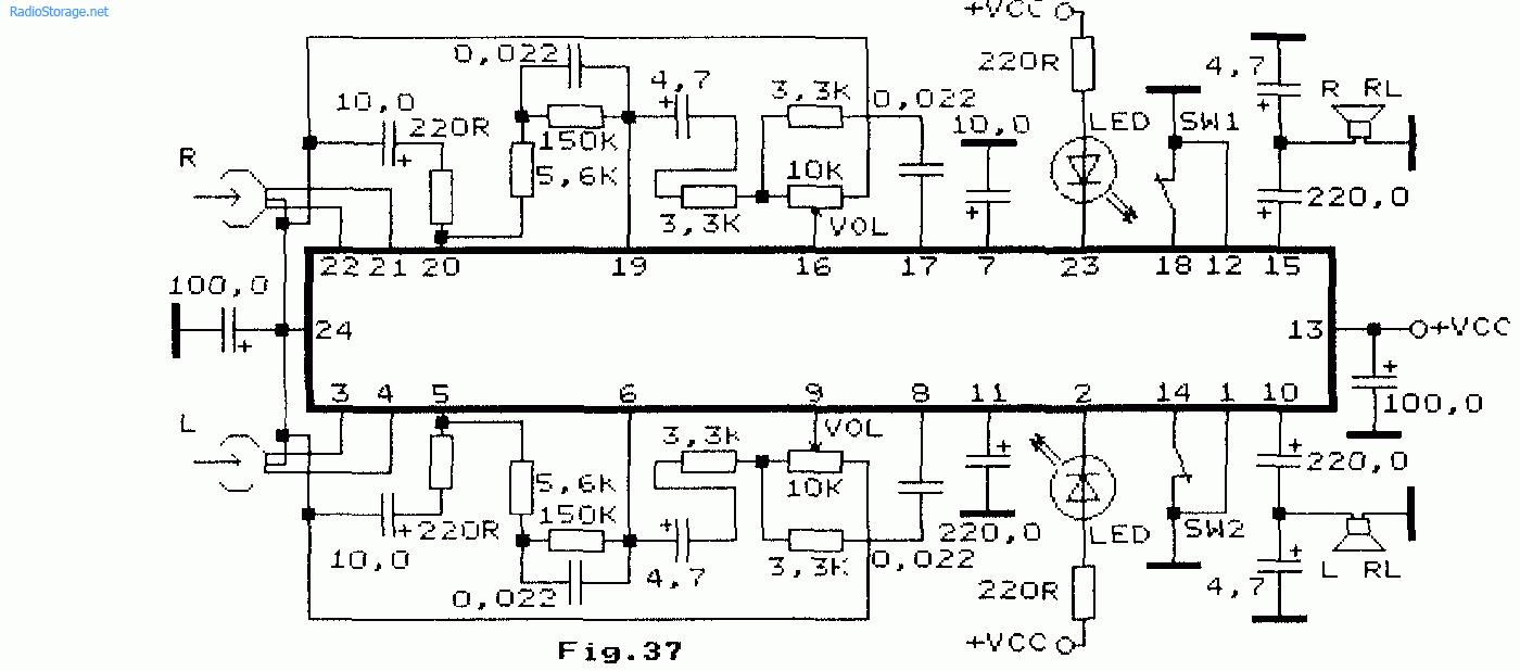 Схема: Комбинированный стереоусилитель для плеера на BA3502F BA3503 KA22131. принципиальная схема.