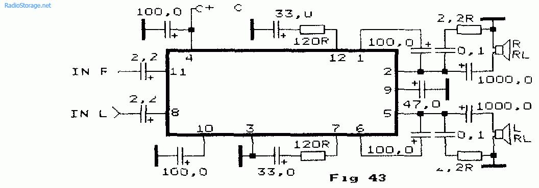 Схема стерео усилителя НЧ на