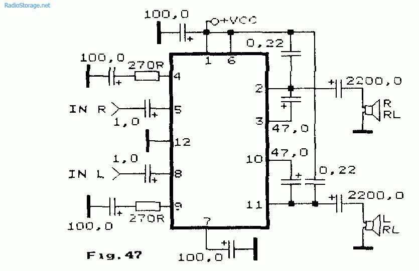 Схема стерео УНЧ на микросхеме