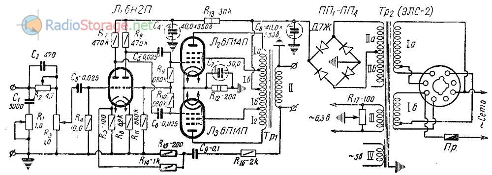 Схема лампового усилителя Ю.