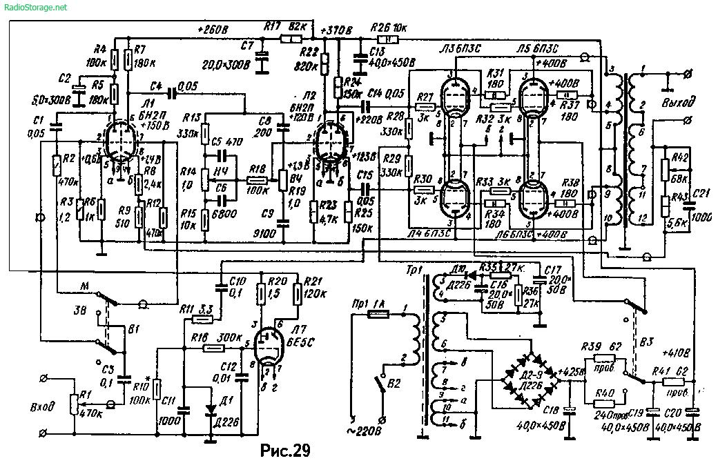 Схема лампового усилителя А.