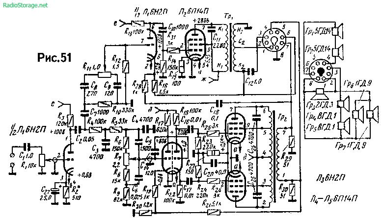 Схема двухканального УМЗЧ Б.