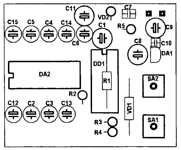 Схема расположения элементов на плате регулятора громкости