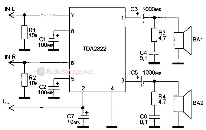 схема усилителя для наушников tda2822.