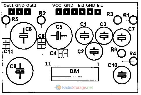 Схема расположения элементов на плате усилителя