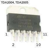 Внешний вид и нумерация выводов микросхем TDA2004, TDA2005