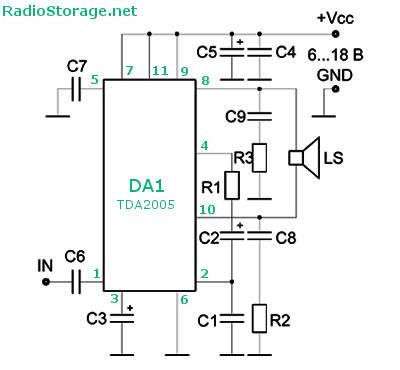 Схема мостового усилителя мощности (УМЗЧ) на микросхеме TDA2005