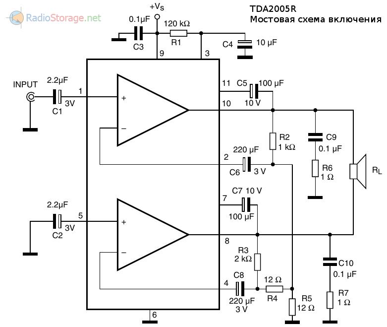 Схема мостового усилителя мощности на микросхеме TDA2005R (20 Вт) с вольтдобавкой