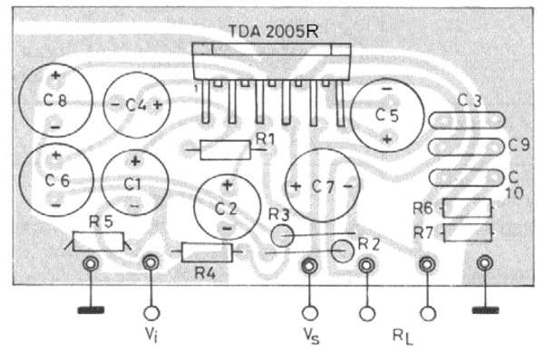 Печатная плата для мостового варианта усилителя на TDA2005R из даташита