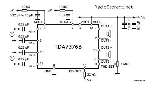 TDA7376B схема включения