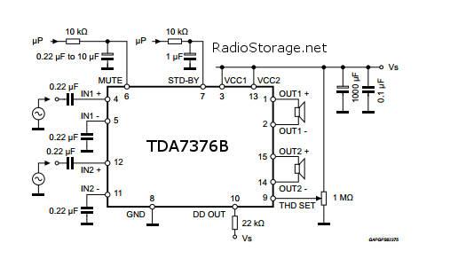 TDA7376B принципиальная схема
