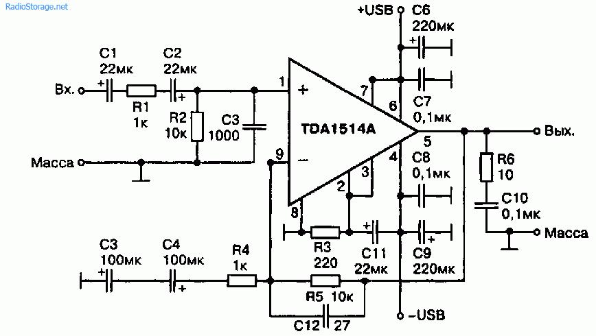 Схема 3 усилителей мощности на