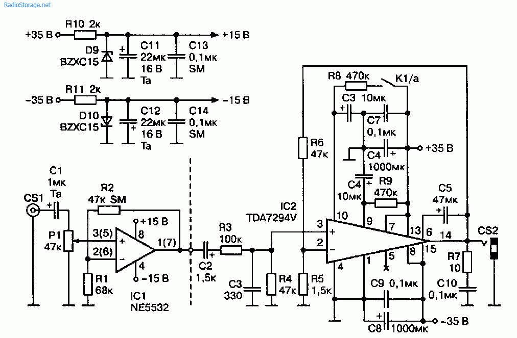 Схема УМЗЧ на ИМС TDA7294V