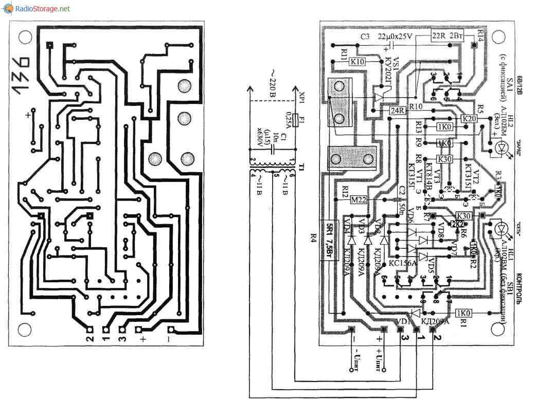 Автоматическое подзарядное устройство ИСКРА, схема и описание, схема