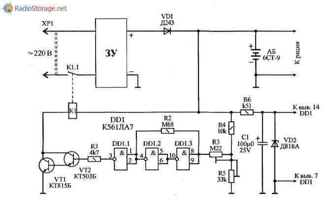 батареи 6СТ-9, схема