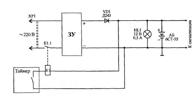 аккумулятора, схема