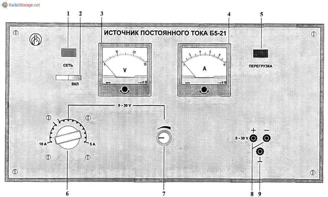 тока Б5-21 (0-30В, 0-5А),