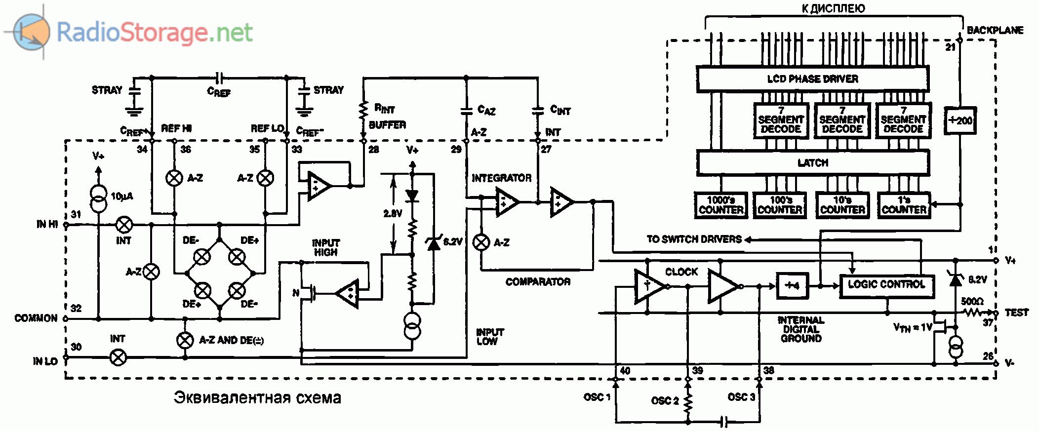 Эквивалентная схема микросхемы-АЦП ICL7106