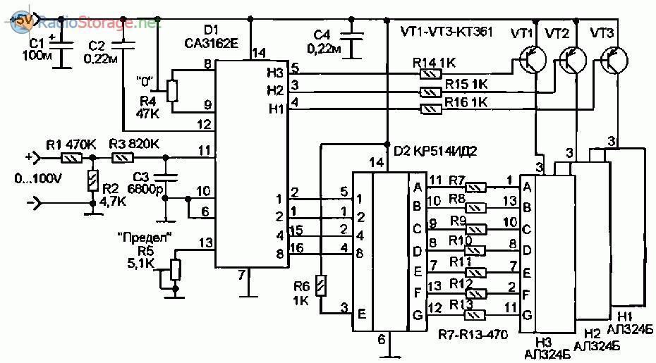 Принципиальная схема цифрового вольтметра до 100В на микросхемах СА3162, К� 514ИД2