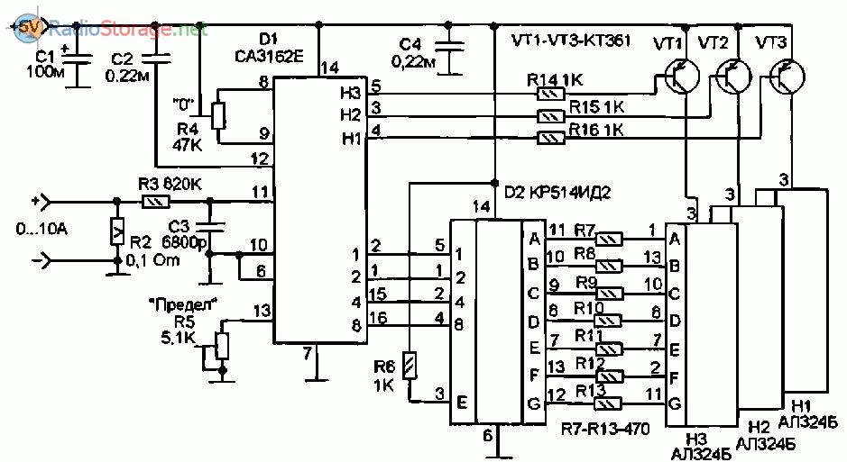 Принципиальная схема цифрового амперметра до 10А и более на микросхемах СА3162, КР514ИД2