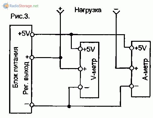 Схема подключения измерителей в лабораторном источнике