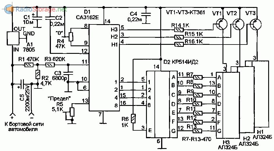 Самодельный автомобильный вольтметр на микросхемах