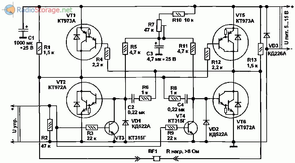 Принципиальна ясхема мощного мультивибратора на транзисторах КТ972, КТ973