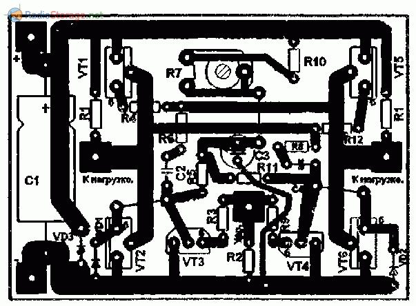 Печатная плата для схемы мощного мультивибратора на транзисторах