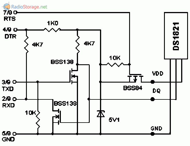 Схема включение ds1821