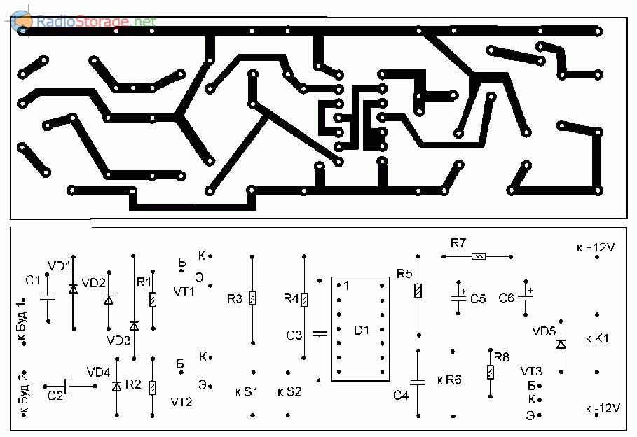 Печатная плата для схемы автоматики светового дня