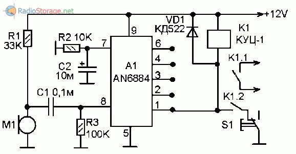 Схема звукового реле на микросхеме
