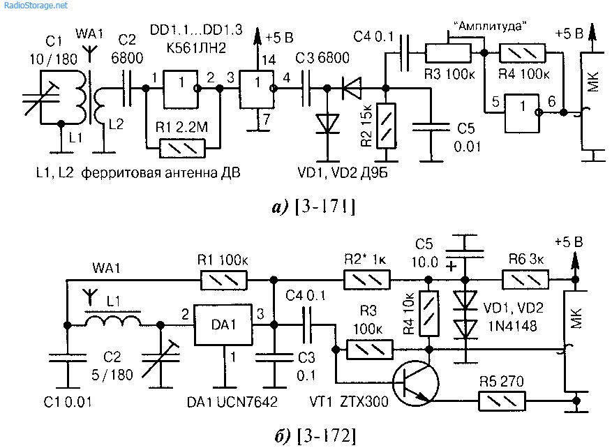 Схемы подключения детекторов
