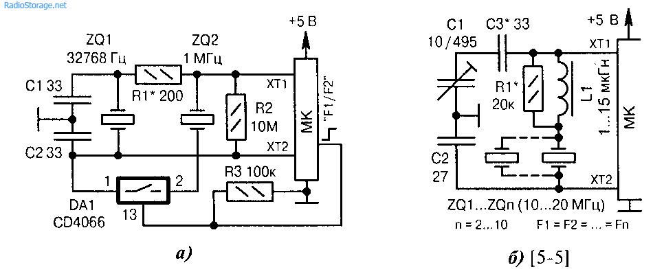 Схемы подключения нескольких кварцевых резонаторов к МК (начало). а)переключение двух тактовых частот F1 (32768 Гц)...