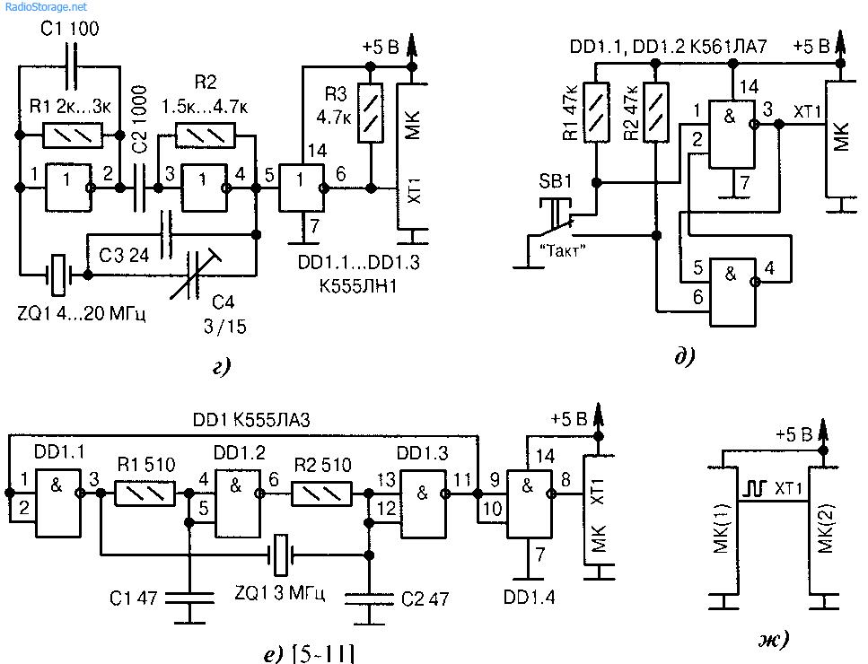 г)полная схема высокочастотного кварцевого генератора, которая не критична к параметрам микросхемы DDI и устойчиво...