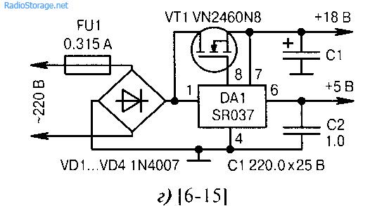 Схемы сетевых бестрансформаторных блоков питаь с AC/DC-преобразователями.