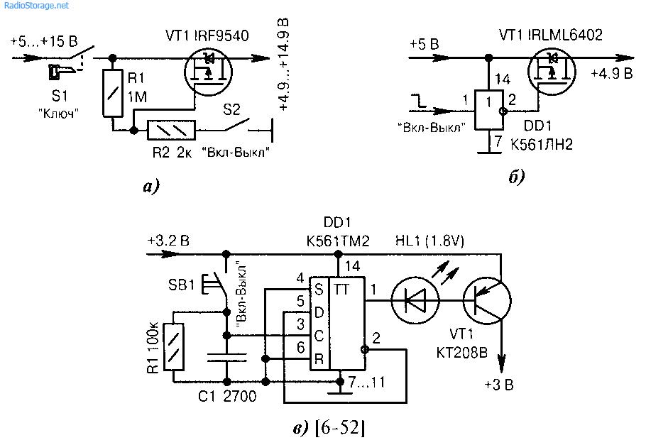 Схемы электронных виключателей