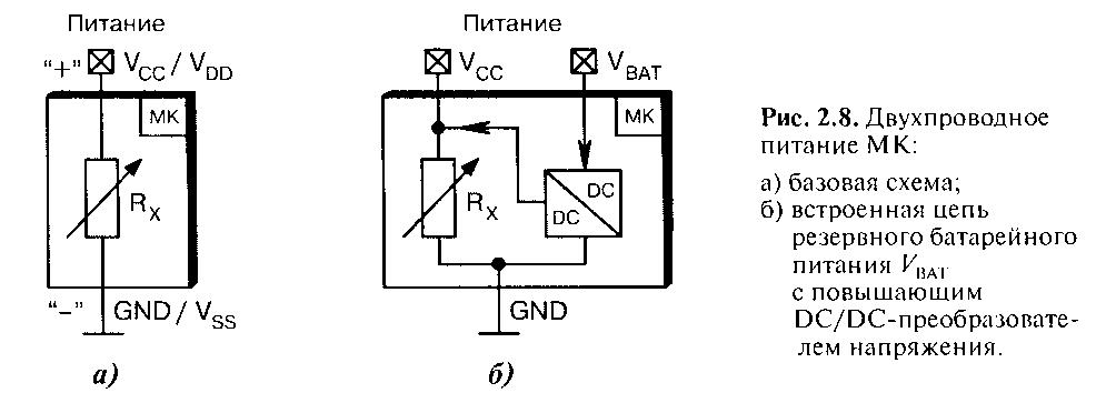 Внутреннее сопротивление МК обозначается переменным резистором Rx.