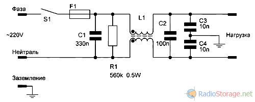 Схема простого сетевого фильтра