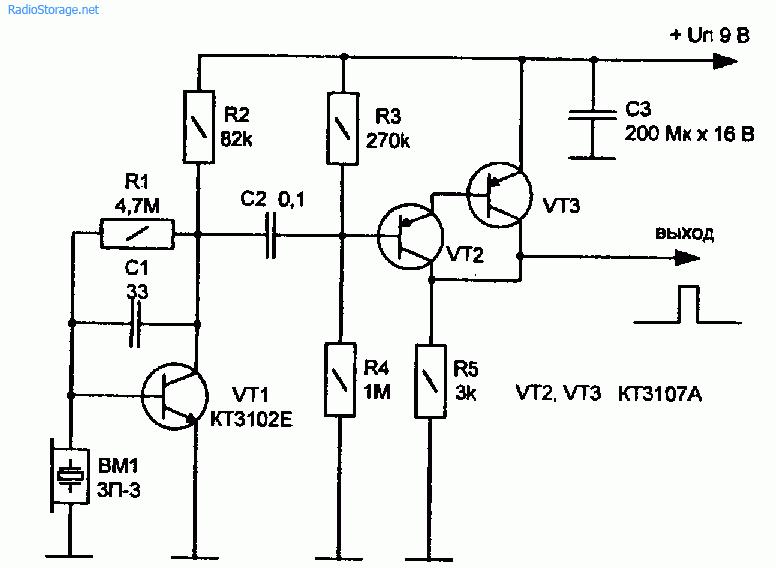 Схема детектора звука или шума