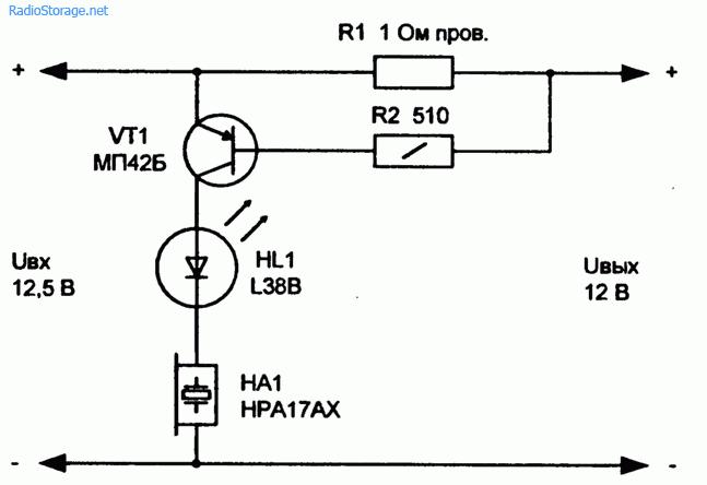Схема светодиодного индикатора перегрузки бп.